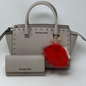Michael kors studded Selma medium bag+wallet+Pom